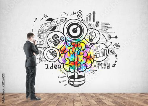 Plexiglas Hoogte schaal Thoughtful businessman looking good idea sketch