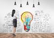 Leinwanddruck Bild - Businesswoman looking at wall, start up idea
