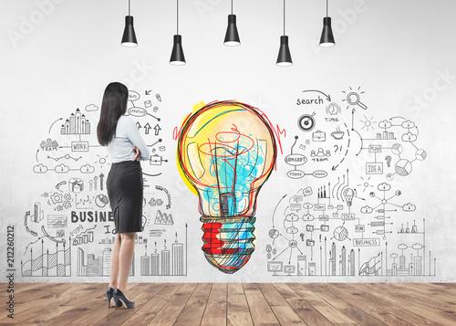 Leinwanddruck Bild Businesswoman looking at wall, start up idea