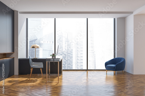 gray wall manager office interior side view buy photos ap
