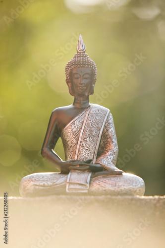 Aluminium Boeddha Buddha statue sitting in zen lotus and meditating in natural environment