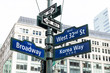 Manhattan NYC buildings of midtown near Korean Town, Korea Way road signs on west 32nd street, Broadway in New York City