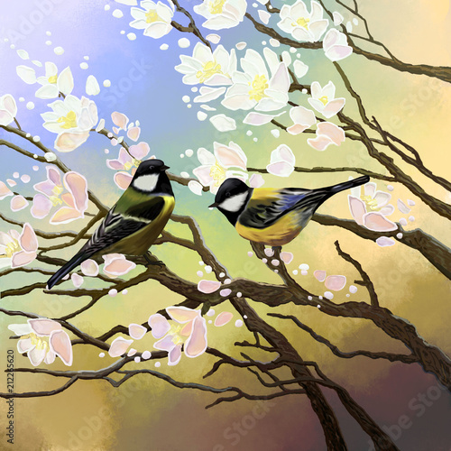Fototapeta Two birds sit on the branches of a cherry blossom.