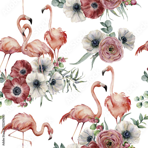 Watercolor flamingo with ranunculus and anemone seamless pattern. Hand painted exotic birds with eucalyptus leaves isolated on white background. Wildlife illustration for design or background. - 212269690