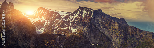 Panoramic Shot Of Beautiful Panoramic Scene, Mountain and Fjord, Winter Landscape In Norway - 212269888