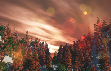 3D landscape with trees on mountains against a sunset sky © Kirsty Pargeter