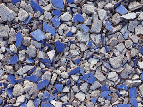 Aluminium Stenen Blue broken ceramics texture