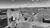 Black and white aerial view of Arches National Park, Utah - 212273275
