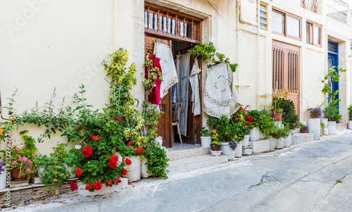 A typical view in the traditional village Omodos in Cyprus