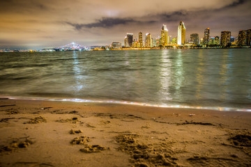 San Diego Skyline with beach and bay as seen from Coronado