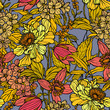 Seamless pattern with poppy, Peonies or roses flowers - 212279039