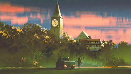 man with his truck standing in front of the old church in forest at sunset, digital art style, illustration painting