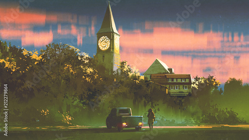 Plexiglas Hoogte schaal man with his truck standing in front of the old church in forest at sunset, digital art style, illustration painting