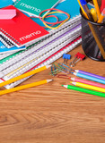 Stack of School Notebooks and Supplies - 212283052