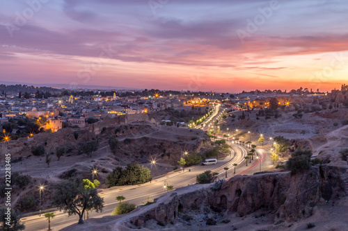 Fotobehang Marokko Sunset and Traffic in the city of Fez in Morocco