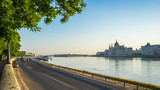 Panorama view of Budapest city street with Parliament Building in Hungary - 212291424