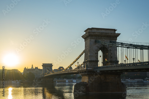 Fotobehang Boedapest Szechenyi Chain Bridge in Budapest city, Hungary