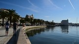 tourists and palm trees along the Split waterfront, Croatia October 19, 2017 - 212292034