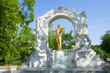 Monument to Johann Strauss in the city park on a sunny afternoon. Vienna