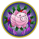 Illustration in stained glass style with abstract pink piggy Bank and Holly branches on blue background, round image - 212308679