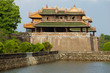 The noonday gates of the forbidden imperial city. Side view. Hue, Vietnam