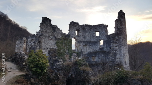 Foto Murales Old castle stone tower ruins of old city Samobor, Croatia surrounded with dense forest and plant overgrowth at sunset