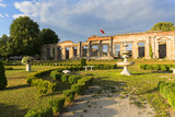 Ruins of 18th century classical palace, manor complex at sunset, situated on the Nida River near Jedrzejow, Sobkow, Poland - 212312089