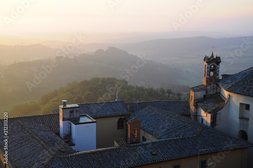 Plexiglas Grijze traf. The City Town and landscape of Montepulciano at sunrise in the morining in Tuscany, Italy