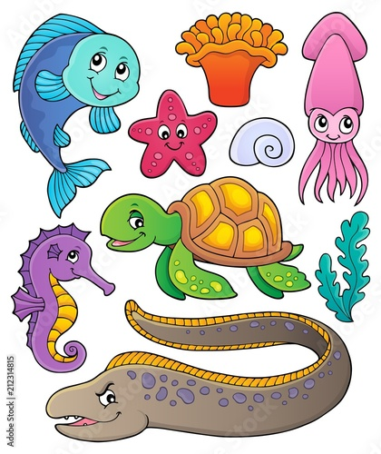 Fotobehang Voor kinderen Sea life theme collection 1