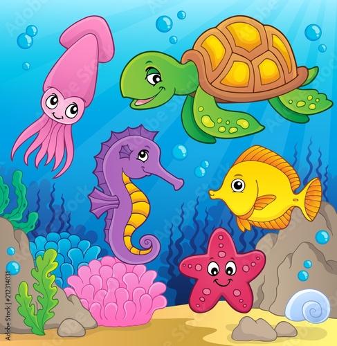Fotobehang Voor kinderen Sea life theme image 1