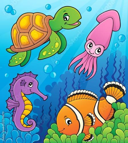 Fotobehang Voor kinderen Sea life theme image 3