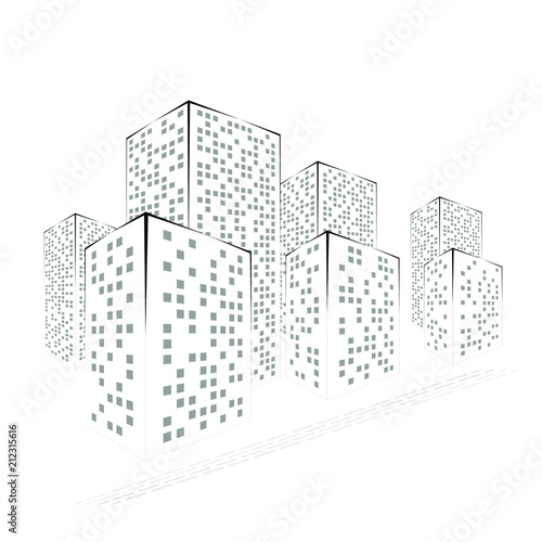 Abstract Black and White City. Graphical Silhouettes of Buildings Isolated on White Background. - 212315616