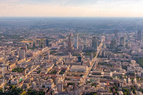 Fototapeta warsaw city panorama aerial view