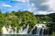 The main waterfalls of the natural park of Krka a strong torrent of water that descends towards the lake. Photograph taken in Sibenik, Croatia. - 212317050
