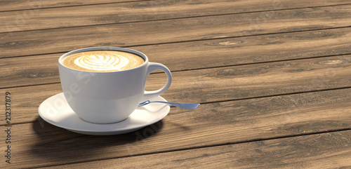 cup of coffee on wooden table - 212317879