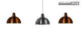 Vintage Metallic stylish hang ceiling cone lamp set. Original Retro design.  brass, and chrome color. Vector illustration Isolated on white background. - 212318851