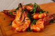 Grilled tiger prawns with herbs