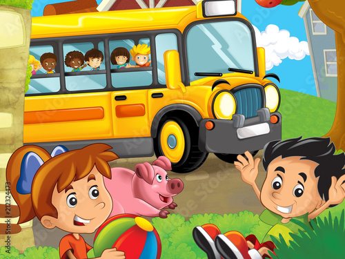 cartoon scene with kids on the farm having fun - in the school bus - illustration for children - 212324473
