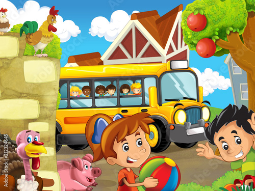 cartoon scene with kids on the farm having fun - in the school bus - illustration for children - 212324645
