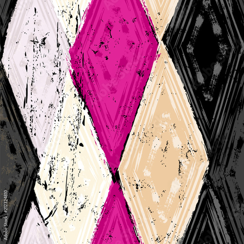 Aluminium Abstract met Penseelstreken seamless geometric pattern background, retro/vintage style, with rhombus, stripes, strokes and splashes