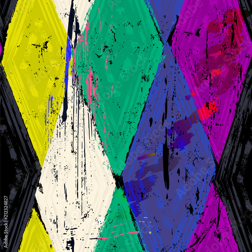 Aluminium Abstract met Penseelstreken seamless geometric pattern background, retro/vintage style, with rhombus, stripes, strokes and splashes, grungy