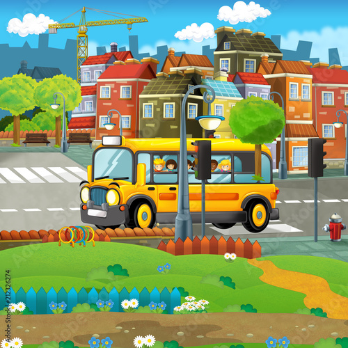 cartoon scene with kids in the school bus - trip in the city - illustration for children - 212326274
