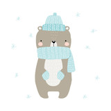 Cute bear with scarf and knitting hat. Winter holiday graphic.Vector hand drawn illustration. - 212331679