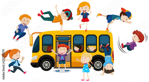 Young Children and School Bus - 212331879