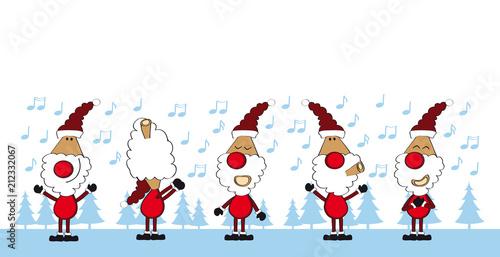 Fototapeta Weihnachtsmann-Team singt - cartoon-IT