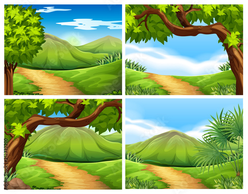 Wall mural A Set of Beautiful Landscape