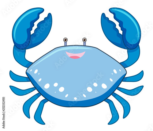 A Cartoon Blue Crab on White Background - 212332410