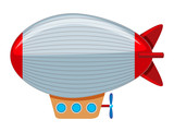 A large grey and red blimp - 212332673
