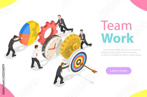 Flat isometric vector concept of effective teamwork, business team, brainstorm.