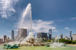 Chicago downtown and Buckingham Fountain at sunny day in Grant Park, Chicago, Illinois, USA.
